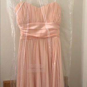 Peach High Low Strapless Gown